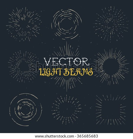 Set of vintage hand drawn ray frames, starburst template with a space for your text, company name or slogan - stock vector