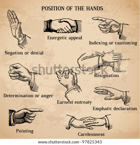 Set of vintage hands - Various Positions in vector - High Quality - stock vector