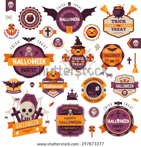 Set Of Vintage Happy Halloween Badges and Labels. Halloween Scrapbook Set. Ribbons, Flat Icons and Other Elements. Vector illustration. Cute Halloween Characters. - stock vector