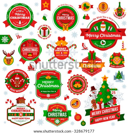 Set Of Vintage Happy New Year and Merry Christmas Badges and Labels. Christmas Scrapbook Set. Ribbons, Flat Icons and Other Elements. Vector illustration. Cute Christmas Characters. Season Greetings. - stock vector