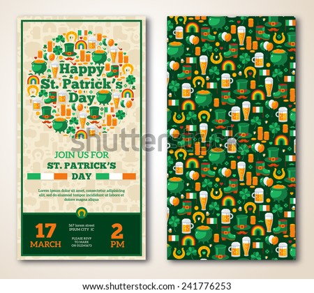 Set Of Vintage Happy St. Patrick's Day Greeting Card or Flyer. Vector illustration. Party Invitation Design with Irish Elements Pattern. Typographic Template for Text.  - stock vector