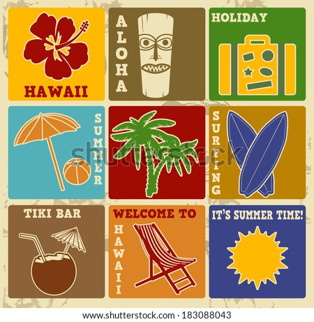 Set of vintage Hawaii labels or posters - Retro signs with grunge effect, illustration vector - stock vector