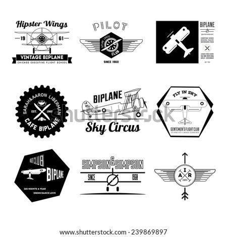 Set of vintage hipster biplane design elements - stock vector