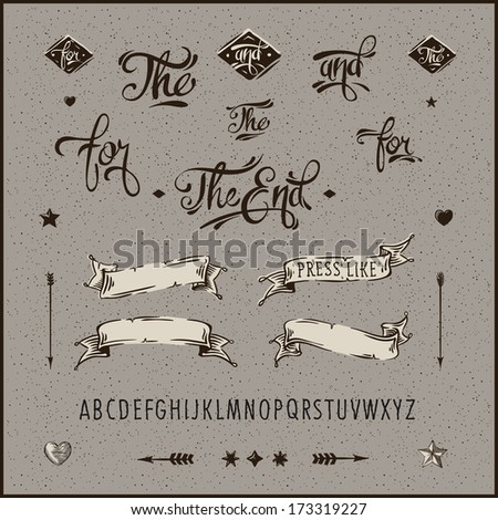 Set of vintage hipster labels, ribbon, arrow, alphabet. Vector image.  - stock vector