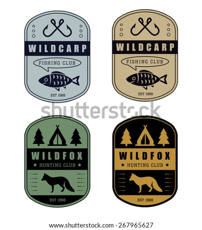 Set of vintage hunting and fishing logo - stock vector