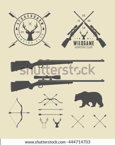 Set of vintage hunting labels, logo, badge and design elements. Vector illustration. Graphic art   - stock vector