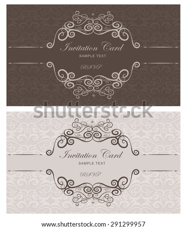 Set of vintage invitation cards with flourishes brown and beige   - stock vector