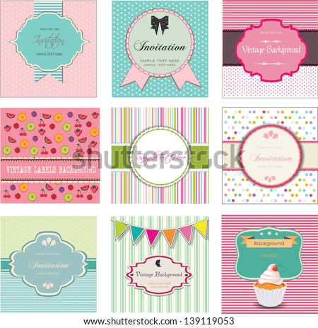 Set of vintage labels and invitations, vector design - stock vector