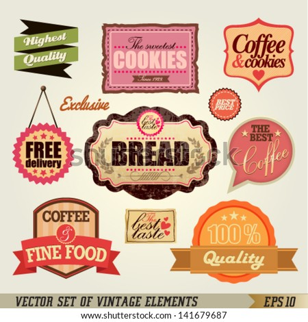 Set of Vintage Labels and Ribbons design. Graphic Design Editable For Your Design. - stock vector