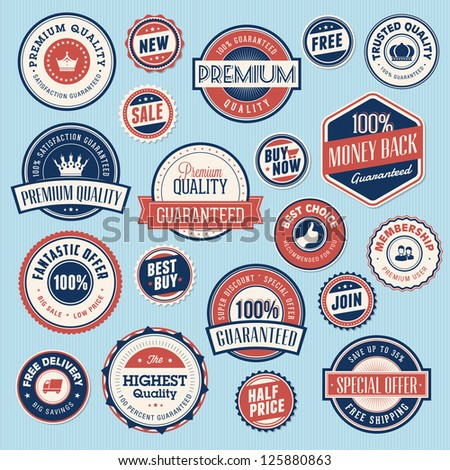 Set of vintage labels and stickers for sale - stock vector