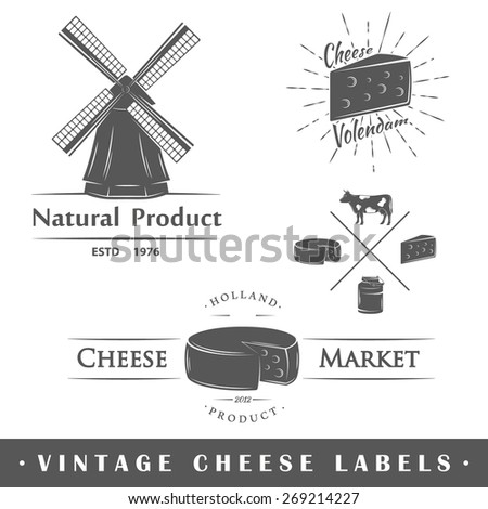 Set of vintage labels cheese. Posters, stamps, banners and design elements. Vector illustration - stock vector