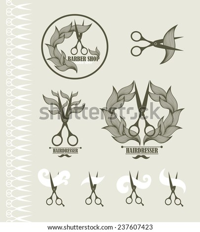 Set of vintage labels for hairdresser and barber with scissors. Vector illustration. - stock vector