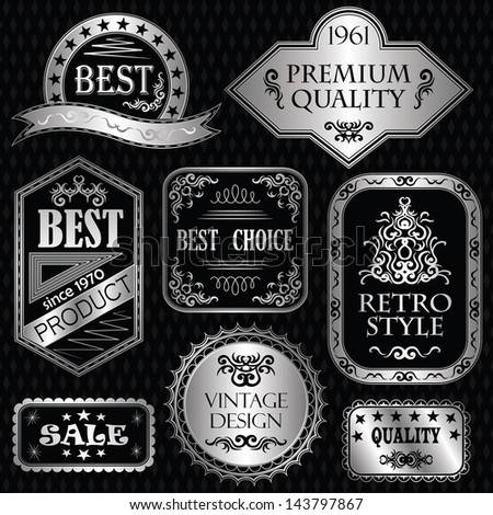 Set of vintage labels in silver. Retro style. Vintage collection - stock vector