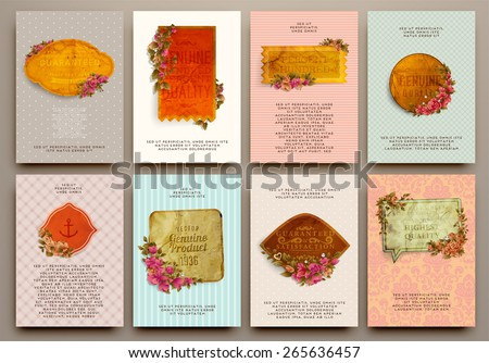 Set of Vintage Labels, Logo, Frames, Flowers and Brochures. Vector Design Templates Collection for Banners, Flyers, Placards and Posters. Retro Backgrounds. - stock vector