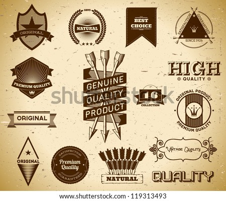 Set of vintage labels on the cardboard. Collection 16 - stock vector