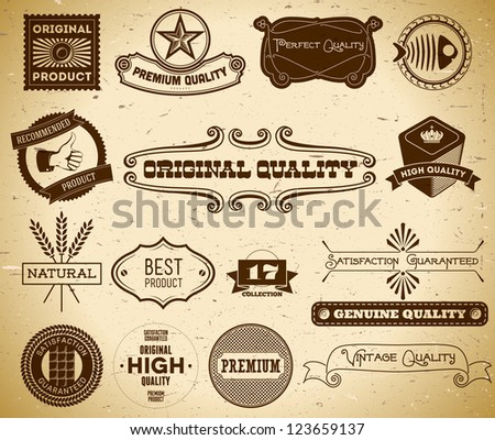 Set of vintage labels on the cardboard. Collection 17 - stock vector
