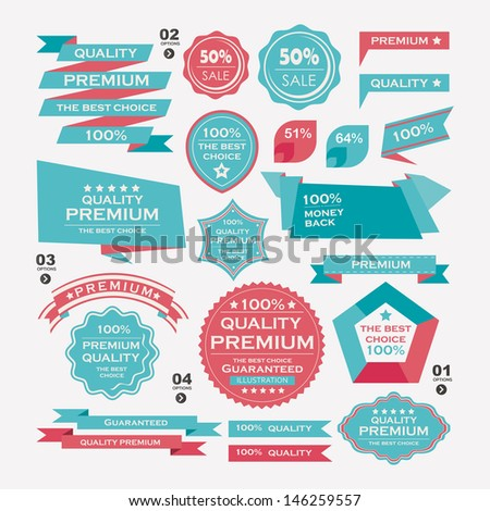 Set Of Vintage labels ribbon , retro style . design elements. - stock vector