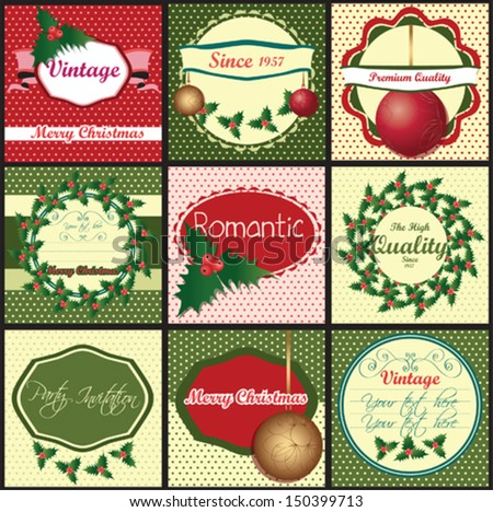 set of vintage labels with Christmas motifs - stock vector