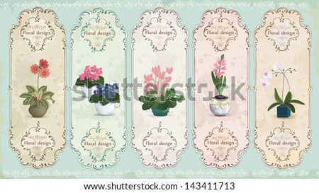 Set of vintage labels with potted flowers. - stock vector