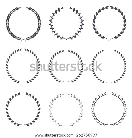 Set of vintage laurel wreaths,  heraldic icons, design elements, business signs, logos, identity, labels, badges template - stock vector
