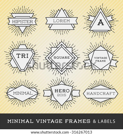 Set of vintage line frames and labels with sunburst. Hipster border and frames design with light ray.Suitable for banner, label, sticker, apparel design, tags, screen and printing. Vector illustration - stock vector