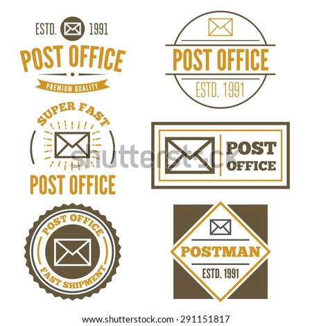 Set of vintage logo, badge, emblem or logotype elements for post office or other design - stock vector