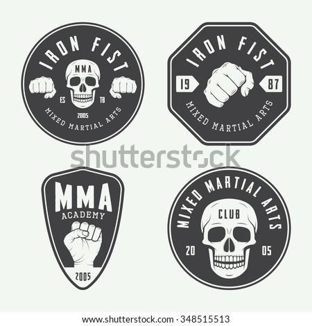 Set of vintage mixed martial arts logo, badges and emblems. Vector illustration  - stock vector
