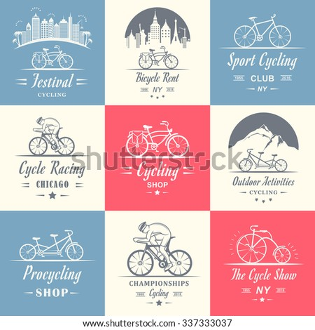 Set of vintage, modern and retro logo badges and labels bicycle, pro bike, shop, equipment and club. Cycling typographic sign, icons and old emblems - Stock Vector - stock vector