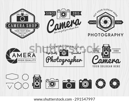 Set of vintage modern insignia logotype camera and photography design, monochrome emblem, banner, insignia, logotype, badge logo and symbol icons for photographer, camera shop decorative collection - stock vector