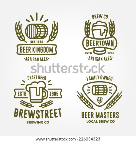 Set of vintage monochrome badge, logo templates and design elements for beer house, bar, pub, brewing company, brewery, tavern, restaurant (mug, glass, barrel, wheat, hop icons) - stock vector