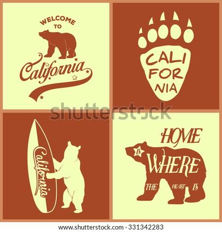 Set of vintage monochrome california emblems and design elements. Typography illustrations. California Republic bear. Vector EPS8 illustration.  - stock vector