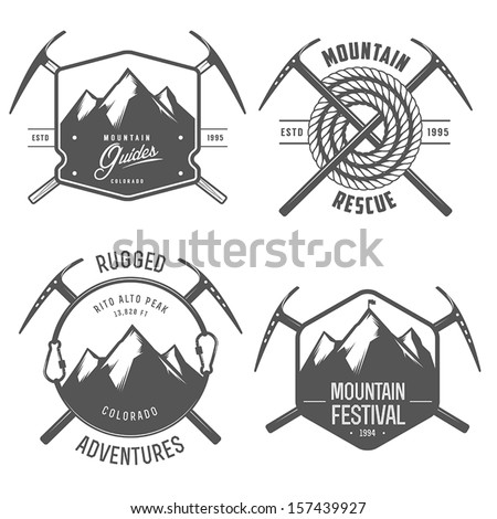 Set of vintage mountain explorer labels and badges - stock vector
