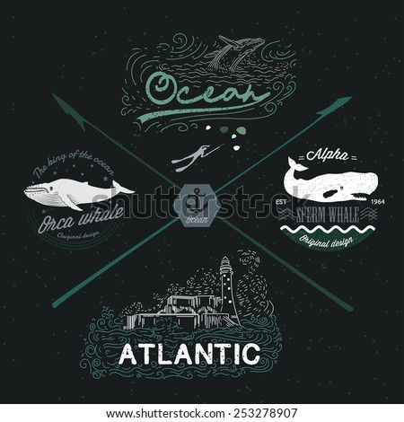 Set of vintage nautical emblems, logos, design elements. Marine Image: whale, water, ocean, lighthouse, seascape.  - stock vector