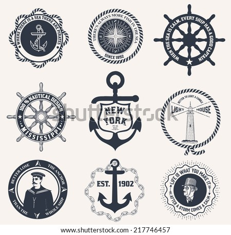 Set of vintage nautical labels, icons and design elements - stock vector