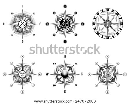 Set of vintage nautical or marine compass icons drawn black lines on a white background. Vector illustration - stock vector