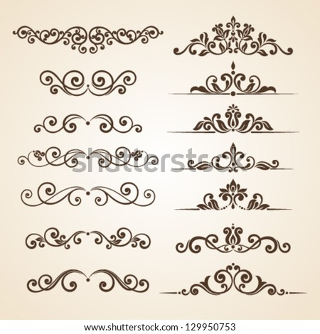 Set of vintage ornaments with floral elements for invitation, congratulation and greeting card - stock vector