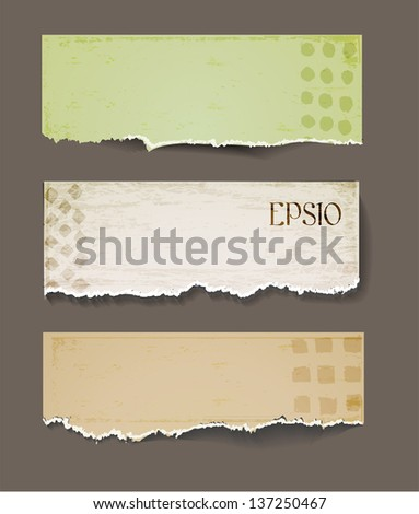 Set of vintage ornated paper objects - stock vector
