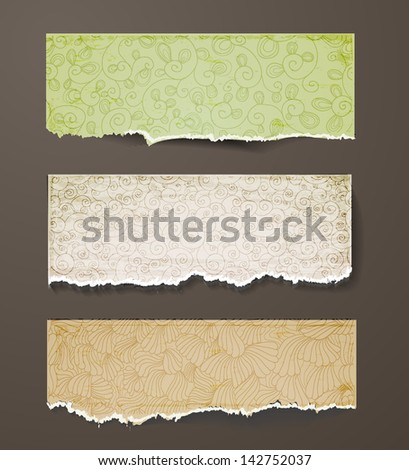 Set of vintage ornated paper objects. Vector illustration. - stock vector