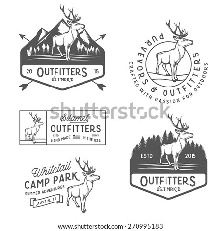 Set of vintage outdoors labels, badges and design elements - stock vector