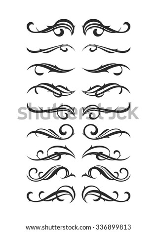 Set of vintage page decoration elements. Vector flourish decor elements collection isolated on white. - stock vector