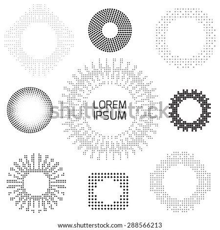Set of vintage patterns of dots and squares, frames and design elements - stock vector