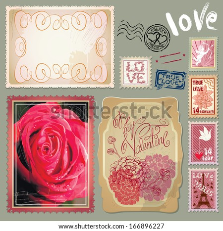 Set of vintage postcards with a beautiful hand drawing roses and post stamps for Valentines Day design. - stock vector
