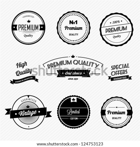 Set of vintage premium quality badges and labels - stock vector