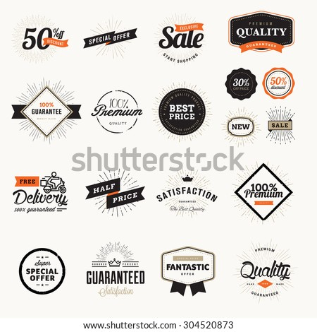 Set of vintage premium quality badges and stickers. Vector illustrations for e-commerce, product promotion, advertising, sell products, discounts, sale, clearance, the mark of quality. - stock vector