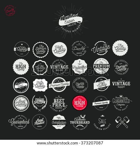 Set of Vintage Premium Quality Stickers  And Labels Set - stock vector