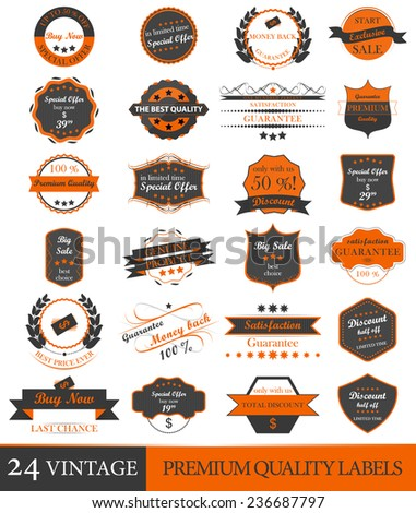 Set of vintage premium quality vector labels and ornate elements  - stock vector