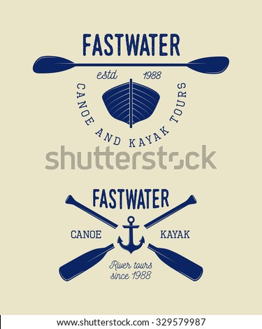 Set of vintage rafting logo, labels and badges. Vector illustration - stock vector