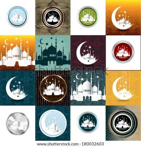 Set of Vintage Ramadan Kareem background  - stock vector