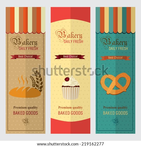 Set of vintage retro bakery labels and logo badges, paper - stock vector