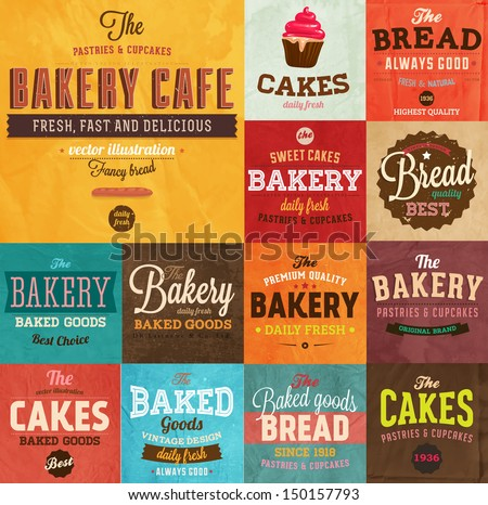Set of vintage retro bakery labels and logo badges, paper textures set - stock vector